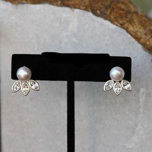 Silpada Pearl Gem Earrings Cubic Zirconia